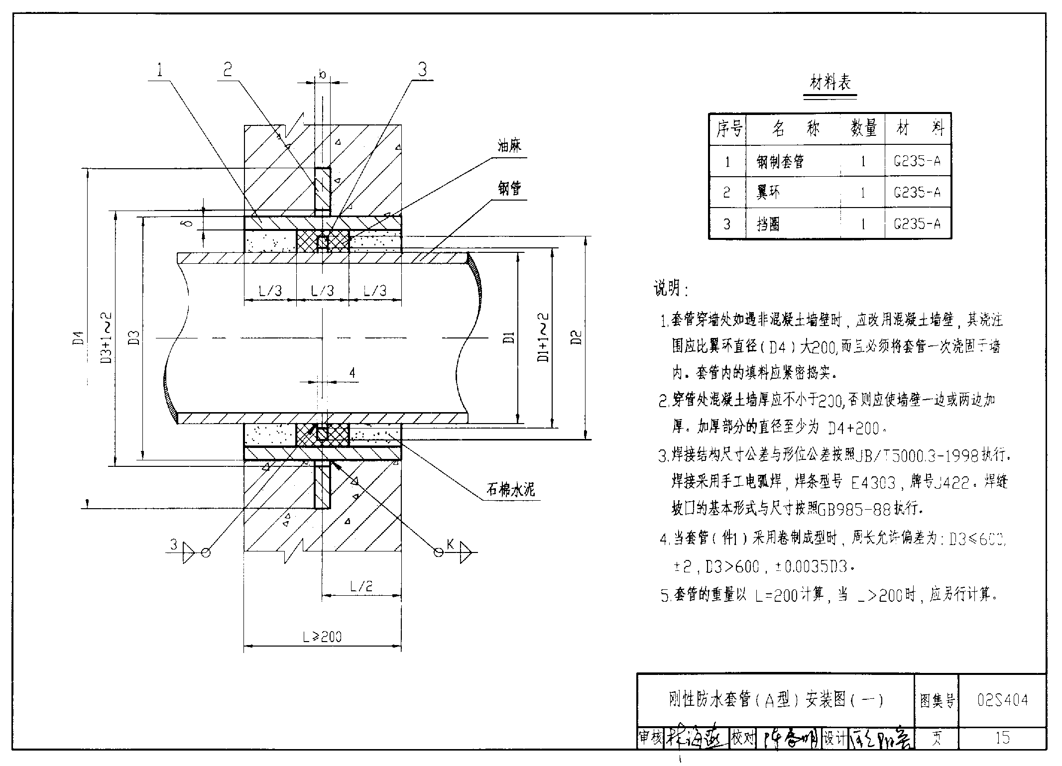 刚性防水套管结构图